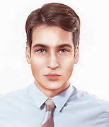 Is this how the grown up royal baby will look? Genetic trends used to predict appearance of Duke and Duchess of Cambridge's child<br /> <br /> Dark brown wavy hair, twinkling blue eyes with a 'royal' hook-shaped nose - this is how the Duke and Duchess of Cambridge's baby could look as an adult according to researchers.<br /> Nickolay Lamm, and graphic designer Nikolett Mérész created these images of how a son or daughter of Prince William and Kate could look based on genetic trends. <br /> They consulted Jenny Chen, a graduate student from the Broad Institute of Harvard-MIT, which is dedicated to genetics/genomics research, on what traits the child is likely to inherit from its royal parents.<br /> <br /> Her predictions on the following facial features are based on the general genetic trends noted by scientists... <br /> EYES<br /> It's 50 per cent likely they will be blue according to Jenny. She explains that as Kate has green eyes she is likely to carry the the brown and blue eye genes. Meanwhile Prince William's eyes are blue. As a result, William will definitely pass on the blue eye gene while Kate could pass on either the blue or brown eye gene. If the baby gets a blue eye gene from both, they will have blue eyes. But if they get one brown eye gene from Kate and and one blue gene from William, brown is dominant so they will have green or brown eyes.<br /> <br /> When it comes to the eye shape, Jenny predicts they will be almond like Kate's as this shape is dominant over round.<br /> HAIR<br /> Darker hair is dominant so their son or daughter is most likely to inherit Kate's brown locks. Jenny adds: 'There is a 25 per cent chance that Kate is carrying a 'blond hair' gene that is being masked by her 'brown hair' gene, which gives their children a 12.5 per cent chance of actually being blond/strawberry blond like William.'<br /> Curly hair is dominant over straight hair so the child is likely to inherit Kate's waves.<br /> <br /> When it comes to their hairline, 