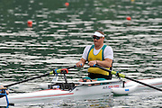 Bled, SLOVENIA, Adaptive Rowing,  AUS ASM1X, Benjamin HOULISON, move's away from the start in his heat,  FISA World Cup, Bled venue, Lake Bled.  Friday  28/05/2010  [Mandatory Credit Peter Spurrier