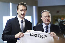 June 14, 2018 - Madrid, Madrid, Spain - Julen Lopetegui, Florentino Perez during the presentation of Julen Lopetegui as new head coach of Real Madrid F.C. at Santiago Bernabeu Stadium. Julen Lopetegui has been sacked as manager of Spain , after taking the Real Madrid job on Tuesday. (Credit Image: © Jack Abuin via ZUMA Wire)