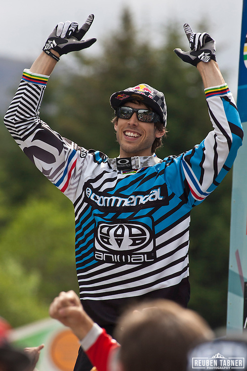 Gee Atherton (Great Britain) of team Commencal celebrates winning the mens downhill. He completed the course in a record breaking 4 mins 35.70 seconds, beating Greg Minnaar by 0.48 seconds. At the UCI Mountain Bike World Cup in Fort William, Scotland.