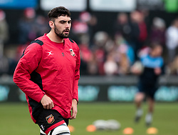 Dragons' Cory Hill<br /> <br /> Photographer Simon King/Replay Images<br /> <br /> Guinness Pro14 Round 11 - Dragons v Cardiff Blues - Tuesday 26th December 2017 - Rodney Parade - Newport<br /> <br /> World Copyright © 2017 Replay Images. All rights reserved. info@replayimages.co.uk - www.replayimages.co.uk