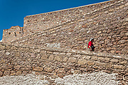 A man walks down the ramp at the old Mescal distillery part of the ruins at the Hacienda de Jaral de Berrio in Jaral de Berrios, Guanajuato, Mexico. The abandoned Jaral de Berrio hacienda was once the largest in Mexico and housed over 6,000 people on the property.