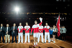 21.11.2014, Stade Pierre Mauroy, Lille, FRA, Davis Cup Finale, Frankreich vs Schweiz, im Bild Schweizer Davis Cup Team mit Captain Severin Luethi (SUI), Roger Federer (SUI), Stanislas Wawrinka (SUI), Marco Chiudinelli (SUI) und Michael Lammer (SUI) // during the Davis Cup Final between France and Switzerland at the Stade Pierre Mauroy in Lille, France on 2014/11/21. EXPA Pictures © 2014, PhotoCredit: EXPA/ Freshfocus/ Valeriano Di Domenico<br /> <br /> *****ATTENTION - for AUT, SLO, CRO, SRB, BIH, MAZ only*****