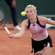 PARIS, FRANCE June 4.  Katerina Siniakova of the Czech Republic in action against Tamara Zidansek of Slovenia on court seven during the third round of the singles competition at the 2021 French Open Tennis Tournament at Roland Garros on June 3rd 2021 in Paris, France. (Photo by Tim Clayton/Corbis via Getty Images)