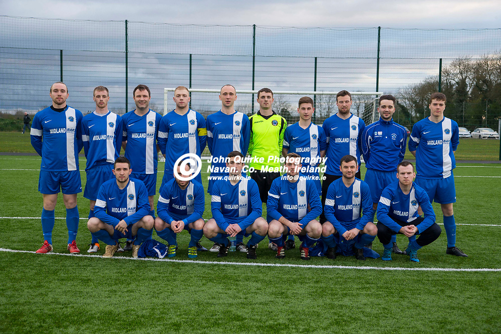 14/04/2017, Division 1 Soccer at MDL, Navan<br /> OMP United vs Enfield Celtic<br /> Enfield Celtic Team, Back Row, L-R, Dean Brennan, Shane Harris, Alan Keller, Des Farrell, Conor McNamara, Sean Coyle, Evan Coyle, Johnny Sweeney, Conor Geraghty, Dylan McDonagh.<br /> Front Row, L-R, Shane Farrell, Barry Clancy, Tom Wynne, Nicky Foster, David Morgan, JP Smullen.<br /> Photo: David Mullen / www.quirke.ie ©John Quirke Photography, Unit 17, Blackcastle Shopping Cte. Navan. Co. Meath. 046-9079044 / 087-2579454.<br /> ISO: 1250; Shutter: 1/200; Aperture: 5.6<br /> File Size: 3.5MB<br /> Print Size: 36.0 x 24.0 inches