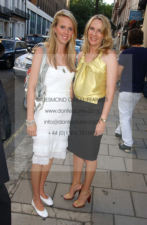 Left to right, the HON.DAISY BELL and her mother LADY BELL at an exhibition of photographs by David Montgomery entitled 'Shutterbug' held at Scream, 34 Bruton Street, London W1 on 13th July 2006.<br />