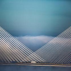 The Forth Bridges in the evening haar
