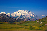 Mount McKinley in Denali National Park is the highest mountain peak in North America with a summit at over 20,000 feet.  This was an incredibly clear day with a magnificent view of the mountain.