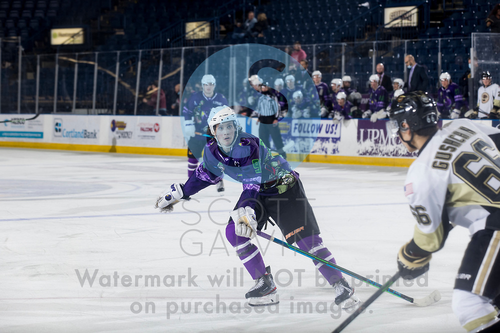 The Youngstown Phantoms defeat the Muskegon Lumberjacks 4-3 in overtime at the Covelli Centre on April 17, 2021.<br /> <br /> Cole Burtch, forward, 93