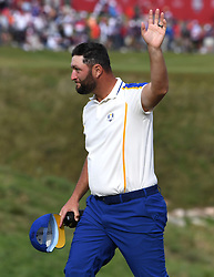 Team Europe's Jon Rahm acknowledges the crowd as he arrives to the 18th ahead of the ceremony during day three of the 43rd Ryder Cup at Whistling Straits, Wisconsin. Picture date: Sunday September 26, 2021.