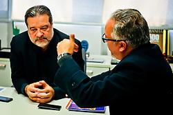 Jornalista Júlio Ribeiro(D), da Revista Press, durante entrevista com Jorge Polydoro, presidente da Revista Amanhã. FOTO: Marcos Nagelstein/ Agência Preview