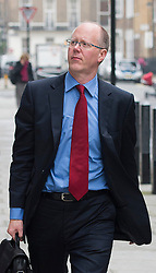 © London News Pictures. File picture dated 23/10/2012. London, UK.  Director General of the BBC George Entwistle  arriving at BBC Broadcasting House in London AFTER giving evidence to the Commons Culture Committee on the BBC's response to the Jimmy Savile affair. Photo credit: Ben Cawthra/LNP