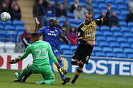 Cardiff city goalkeeper Neil Etheridge (l) and Sol Bamba of Cardiff city combine to stop a goal scoring chance from Steven Fletcher of Sheffield Wed (r). EFL Skybet championship match, Cardiff city v Sheffield Wednesday at the Cardiff City Stadium in Cardiff, South Wales on Saturday 16th September 2017.<br /> pic by Andrew Orchard, Andrew Orchard sports photography.