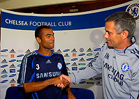 Photo: Alan Crowhurst.<br />Chelsea Press Conference. 08/09/2006. Jose Mourinho (R) welcomes Ashley Cole to Chelsea FC.