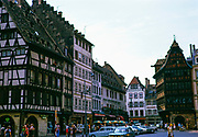 Historic half-timbered medieval  buildings in Place de la Cathedrale, city centre of Strasbourg, Alsace, France 1974