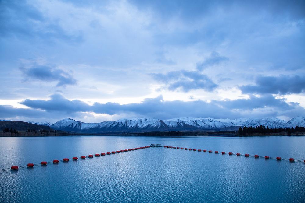 Aquaculture buoys on Lake Pukaki, South Island, New Zealand