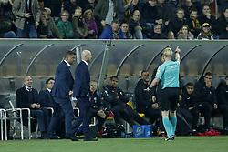 (L-R) assistant trainer Hans van de Haar of FC Utrecht, coach Erik ten Hag of FC Utrecht, referee Kevin Blom during the Second Round Dutch Cup match between VVV-Venlo and FC Utrecht at Seacon stadium De Koel on October 25, 2017 in Venlo, The Netherlands