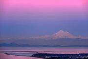 Telephoto view of Mount Baker, Dungeness Spit and the Salish Sea, twilight,  North Olympic Peninsula, Washington, USA