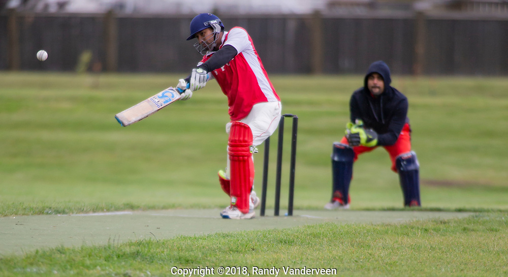 Photo Randy Vanderveen<br /> Grande Prairie, Alberta<br /> 2018-09-01<br /> Nitin Rana, a batsman for Grande Prairie, hits the bowled ball during a cricket match against Fort McMurray Saturday afternoon.