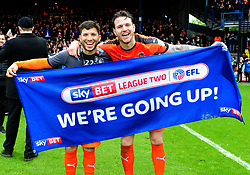 Luke Gambin and Glen Rea of Luton Town celebrate  - Mandatory by-line: James Healey/JMP - 28/04/2018 - FOOTBALL - Kenilworth Road - Luton, England - Luton Town v Forest Green Rovers - Sky Bet League Two