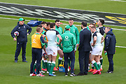 Ireland team get a briefing from Andy Farrell Head Coach of Ireland during the Six Nations international rugby union match between England and Ireland at Twickenham stadium, Sunday, Feb. 23, 2020, in London, United Kingdom.  England won the match 24-12. (Mitchell Gunn/ESPA-Images-Image of Sport)