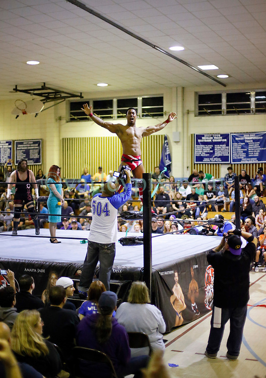 12 March 2016. Metairie, Louisiana.<br /> Wrestling action from Wildkat Sports and Entertainment's 'March into Mayhem' at the Meisler Middle School. 'Wildcard' J. Spade defeats 'The Outlaw' Matt Lancie.<br /> Photo©; Charlie Varley/varleypix.com