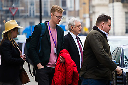 "A reportedly ""unwell"" Brexit Secretary David Davis leaves the BBC's New Broadcasting House in London via a back entrance after appearing on the Andrew Marr Show. London, March 25 2018."