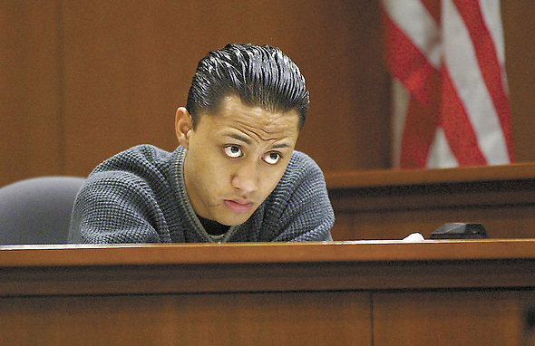 May 30, 2017: File Photo: VILI FUALAAU filed for legal separation from his wife and former 6th grade teacher, MARY KAY FUALAAU, formerly Letourneau, a married 34-year-old teacher and mother of four in Seattle in 1996 when she began an affair with Fualaau, her 13-year-old student. The couple is 22 years apart in age. Mary Kay gave birth to her young lover's child before she went on to serve more than seven years in prison on charges related to their sexual relationship. Pictured:   Apr 10, 2002; Kent, Washington, USA; VILI FAULAAU, 18, listens to  cross-examination questions from the lawyer representing the  Highline School District, which Fualaau and his mother are suing,  yesterday at the Regional Justice Center in Kent. In  cross-examination, Fualaau admitted to lying in his deposition. Letourneau was released  from prison Aug 4th 2004. (Credit Image: © Matt Brashears/King County Journal/ZUMAPRESS.com)