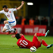 Czech Republic's Vladimar Darida (L) during their UEFA Euro 2016 qualification Group A soccer match Turkey betwen Czech Republic at Sukru Saracoglu stadium in Istanbul October 10, 2014. Photo by Aykut AKICI/TURKPIX