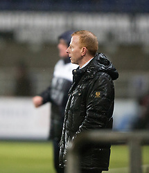 Dumbarton's manager Stephen Aitken. <br /> Falkirk 1 v 0 Dumbarton, Scottish Championship game played 26/12/2015 at The Falkirk Stadium.