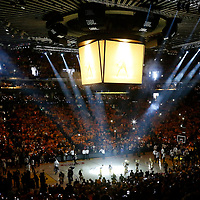 04 June 2017: Players introduction prior to the Golden State Warriors 132-113 victory over the Cleveland Cavaliers, in game 2 of the 2017 NBA Finals, at the Oracle Arena, Oakland, California, USA.