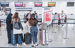 THEMENBILD - türkische Passagiere warten vor dem Schalter der Turkish Airlines am Flughafen, aufgenommen am 15. August 2018 in Graz, Oesterreich // Turkish passengers wait in front of the counter of Turkish Airlines, Airport Graz, Austria on 2018/08/15. EXPA Pictures © 2018, PhotoCredit: EXPA/ JFK