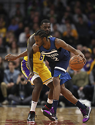 January 6, 2019 - Minneapolis, MN, USA - Minnesota Timberwolves forward Andrew Wiggins (22) moves the ball against Los Angeles Lakers guard Lance Stephenson (6) in the second half on Sunday, Jan. 6, 2019 at Target Center in Minneapolis, Minn. The Minnesota Timberwolves defeated the Los Angeles Lakers, 108-86. (Credit Image: © Jeff Wheeler/Minneapolis Star Tribune/TNS via ZUMA Wire)