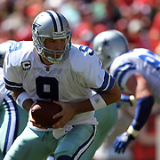 Dallas Cowboys quarterback Tony Romo (9) during an NFL football game between the Dallas Cowboys and the San Francisco 49ers at Candlestick Park on Sunday, Sept. 18, 2011 in San Francisco, CA.   (Photo/Alex Menendez)