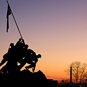 The Marine Corps War Memorial, also called the Iwo Jima Memorial, is dedicated to all personnel of the United States Marine Corps who have died in the defense of their country since 1775. The design is based on the iconic photo Raising the Flag on Iwo Jima, taken during the Battle of Iwo Jima by AP photographer Joe Rosenthal.