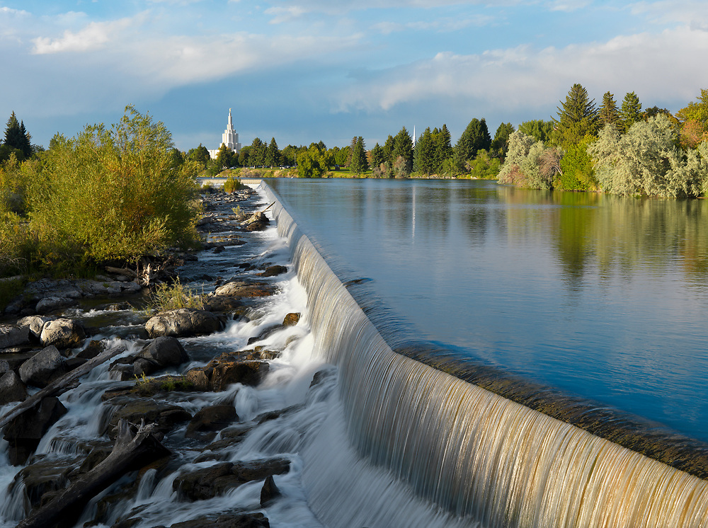 Licensing - Open Edition Prints<br /> Idaho Falls Spillway in spring green and runoff with Mormon Temple in background