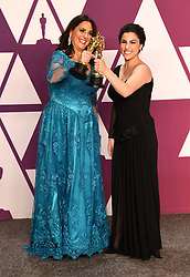 Melissa Berton and Rayka Zehtabchi with the award for best Documentary (Short Subject) for Period. End Of Sentence in the press room at the 91st Academy Awards held at the Dolby Theatre in Hollywood, Los Angeles, USA