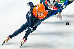 Suzanne Schulting in action on the 1000 meter during ISU World Cup Finals Shorttrack 2020 on February 14, 2020 in Optisport Sportboulevard Dordrecht.