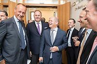 """18 JUN 2018, BERLIN/GERMANY:<br /> Friedrich Merz (L), Vorsitzender des Aufsichtsrates BlackRock Asset Management Deutschland AG, Harald Christ (2.v.L.), Wirtschaftsforum der SPD, Olaf Scholz (3.v.L.), SPD, Bundesfinanzminister, Dr. Joerg Kukies (2.v.R.), Staatssekretaer im Bundesministerium der Finanzen, Veranstaltung Wirtschaftsforum der SPD: """"Finanzplatz Deutschland 2030 - Vision, Strategie, Massnahmen!"""", Haus der Commerzbank<br /> IMAGE: 20180618-01-034"""