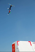 Lloyd Wallace, Great Britain, Freestyle Aerial Skiing Practice at the Pyeongchang 2018 Winter Olympics on February 15th 2018, at the Phoenix Snow Park in Pyeongchang-gun, South Korea.