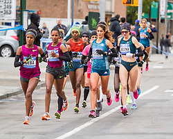 NYC Marathon, lead pack of Deba, Dado, Moreira, Prokopcuka in Brooklyn, mile 4