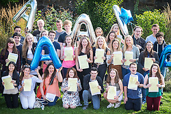 © Licensed to London News Pictures . 18/08/2016 . Wigan , UK . Group photograph of students with straight A* results . Students at Winstanley College in Wigan collect their A-Level results . Photo credit: Joel Goodman/LNP