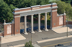 Walter Camp Monument & Gate to Yale Athletic Fields. Aerial Photograph. Derby Avenue, New Haven, CT.