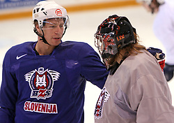 Egon Muric and Goalkeeper Robert Kristan - Lix at practice of Slovenian national team at Hockey IIHF WC 2008 in Halifax,  on May 01, 2008 in Forum Centre, Halifax, Canada.  (Photo by Vid Ponikvar / Sportal Images)