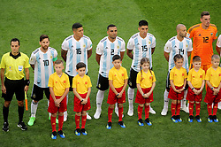 Argentina's Lionel Messi (second left to right), Marcos Rojo, Gabriel Mercado, Enzo Perez, Javier Mascherano and goalkeeper Franco Armani line up before the FIFA World Cup Group D match at Saint Petersburg Stadium.