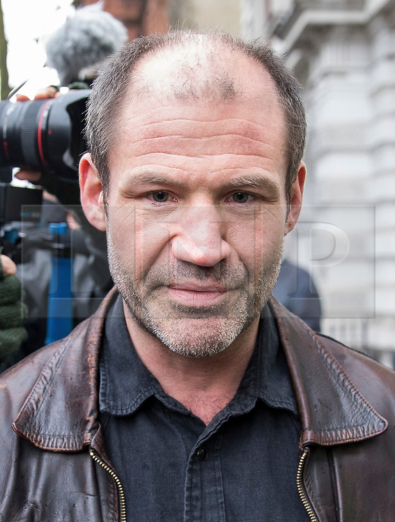© Licensed to London News Pictures. 14/02/2018. London, UK. James (Jim) Matthews arrives at Westminster Magistrates Court to appear charged with one count of 'attending a place used for terrorist training', under section 8 of the Terrorism Act 2006. The former British Army soldier fought with Kurdish forces - the YPG - against ISIS in Syria. Photo credit : Tom Nicholson/LNP
