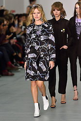 © Licensed to London News Pictures. 23/02/2016. GEORGIA MAY JAGGER on the catwalk for the ASHLEY WILLIAMS show at the London Fashion Week Autumn/Winter 2016 show. Models, buyers, celebrities and the stylish descend upon London Fashion Week for the Autumn/Winters 2016 clothes collection shows. London, UK. Photo credit: Ray Tang/LNP