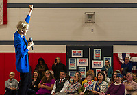 Senator Elizabeth Warren speaks to the crowd during the Town Hall at Laconia Middle School Tuesday evening.  (Karen Bobotas/for the Laconia Daily Sun)