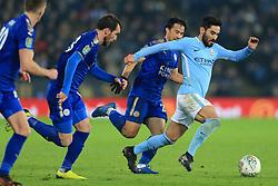 19th December 2017 - Carabao Cup (Quarter Final) - Leicester City v Manchester City - Ilkay Gundogan of Man City gets away from Shinji Okazaki of Leicester - Photo: Simon Stacpoole / Offside.
