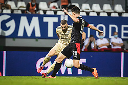 Nino Kouter of Mura and Olivier Boscagli of PSV Eindhoven during football match between NS Mura and PSV Eindhoven in Third Round of UEFA Europa League Qualifications, on September 24, 2020 in Stadium Fazanerija, Murska Sobota, Slovenia. Photo by Blaz Weindorfer / Sportida
